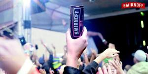 Smnoff cans in the air